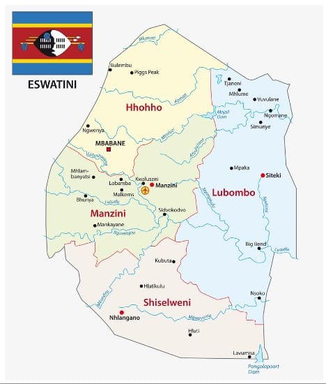 Map of Eswatini with a flag in the corner