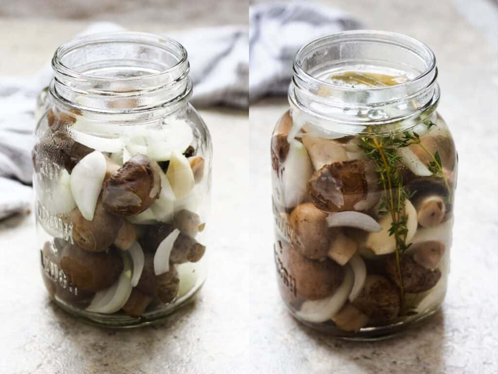 Collage of mushroom jar without marinade and mushroom jar with marinade