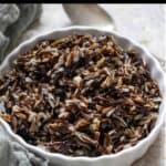 Instant Pot Wild Rice Pinterest Image top black banner