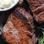 Filet Steak in Cast Iron Skillet with Cream Sauce