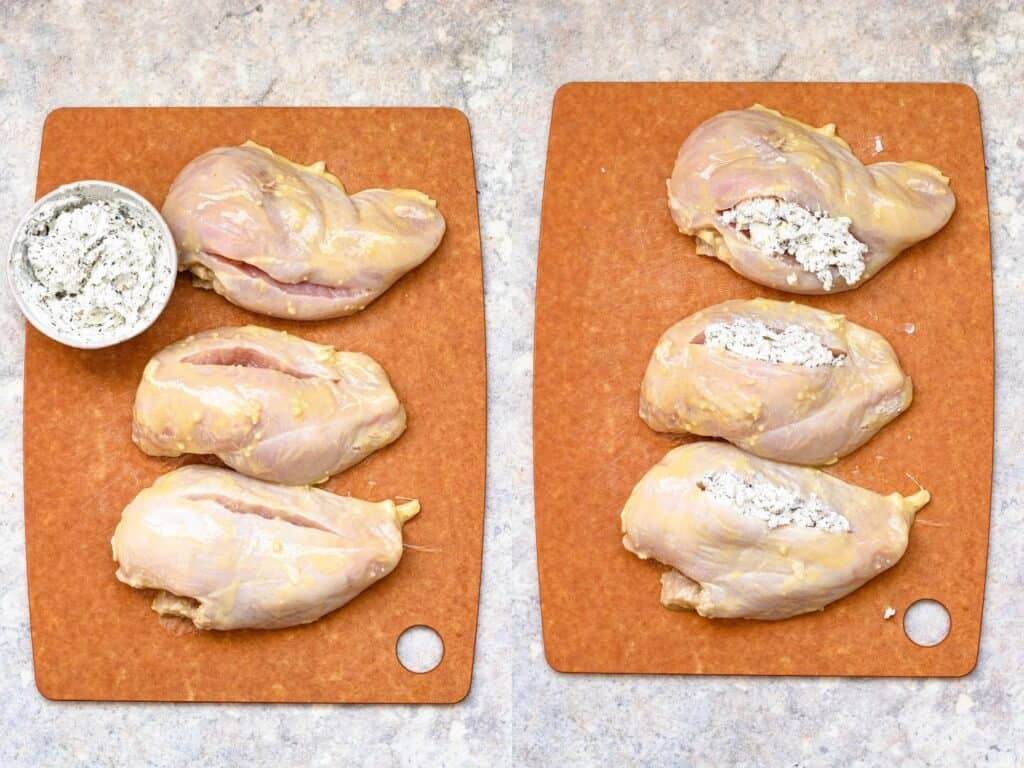 collage of chicken breast being stuffed with goat cheese