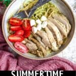Summertime Basil Pesto Chicken Pinterest Image bottom black banner