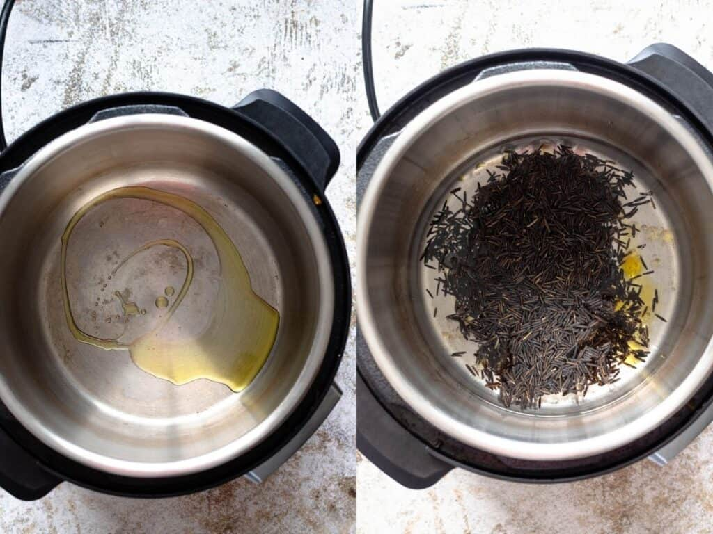 collage of rice in an instant pot
