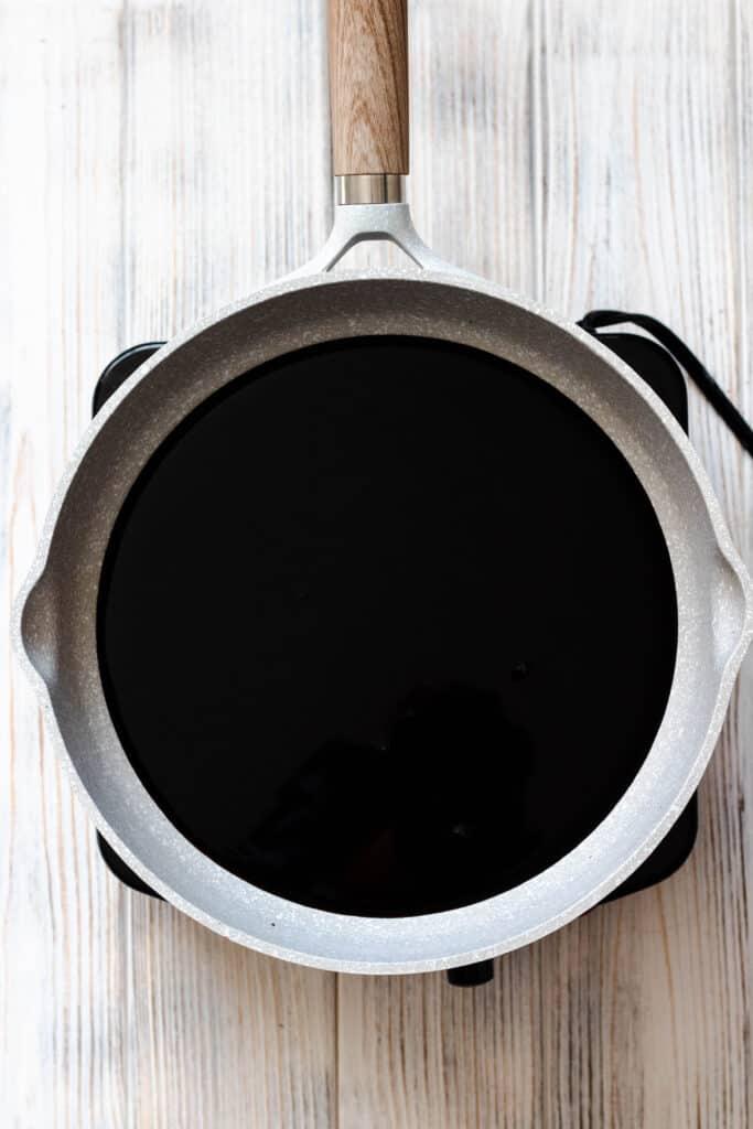 Sauce pan full of balsamic vinegar