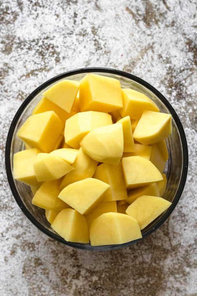 raw, chopped golden potatoes
