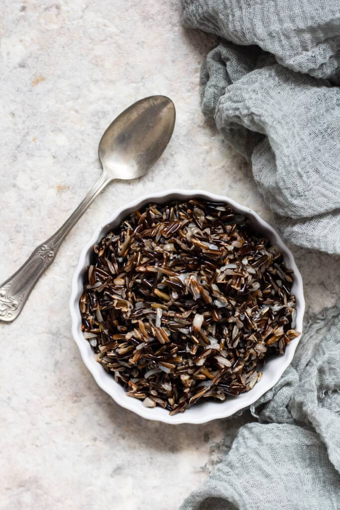 Wild Rice in a ceramic bowl with a spoon
