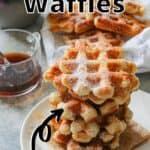 Belgian Waffles Pinterest Image top outlined title