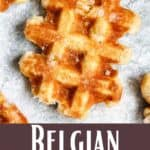 Homemade Belgian Waffles Pinterest Image bottom design banner