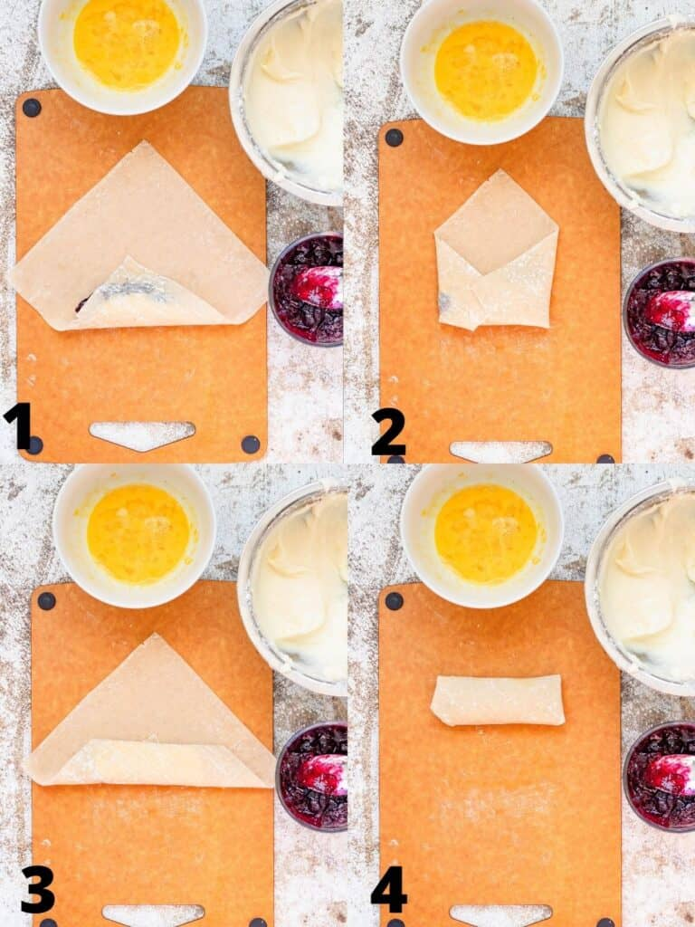 collage of how to roll egg rolls