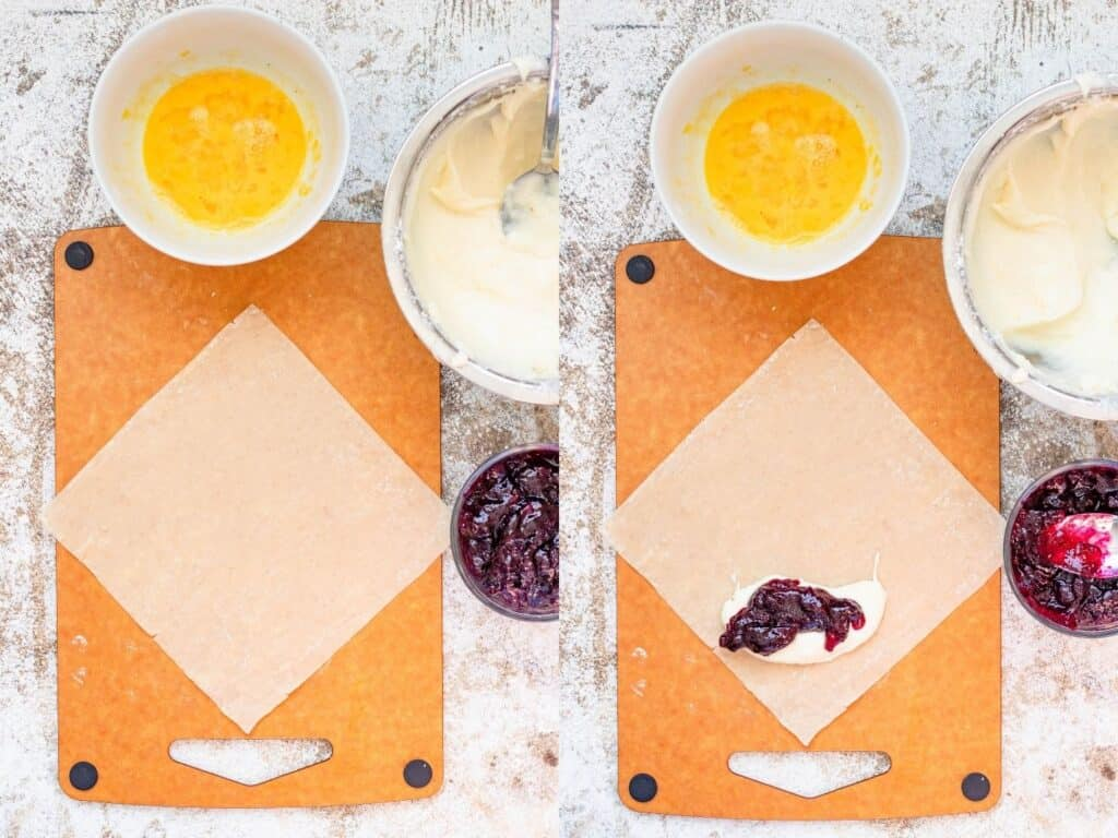 collage of adding filling to blueberry cream cheese egg rolls
