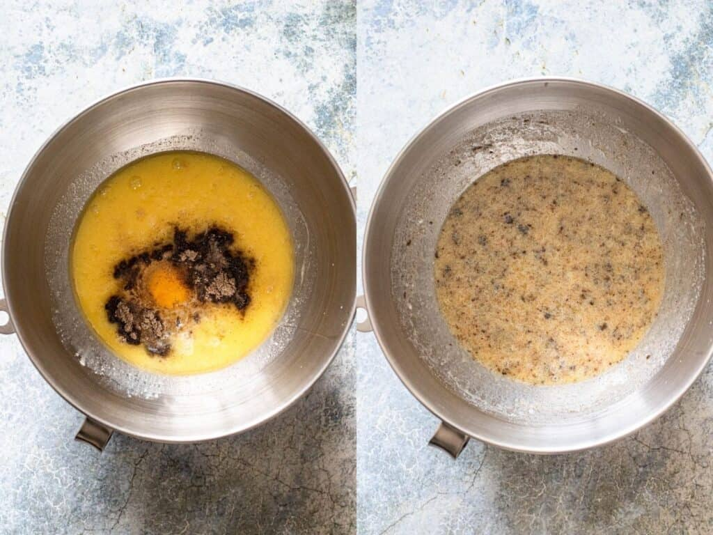 Collage of mixing egg, cardamom, milk, yeast, butter