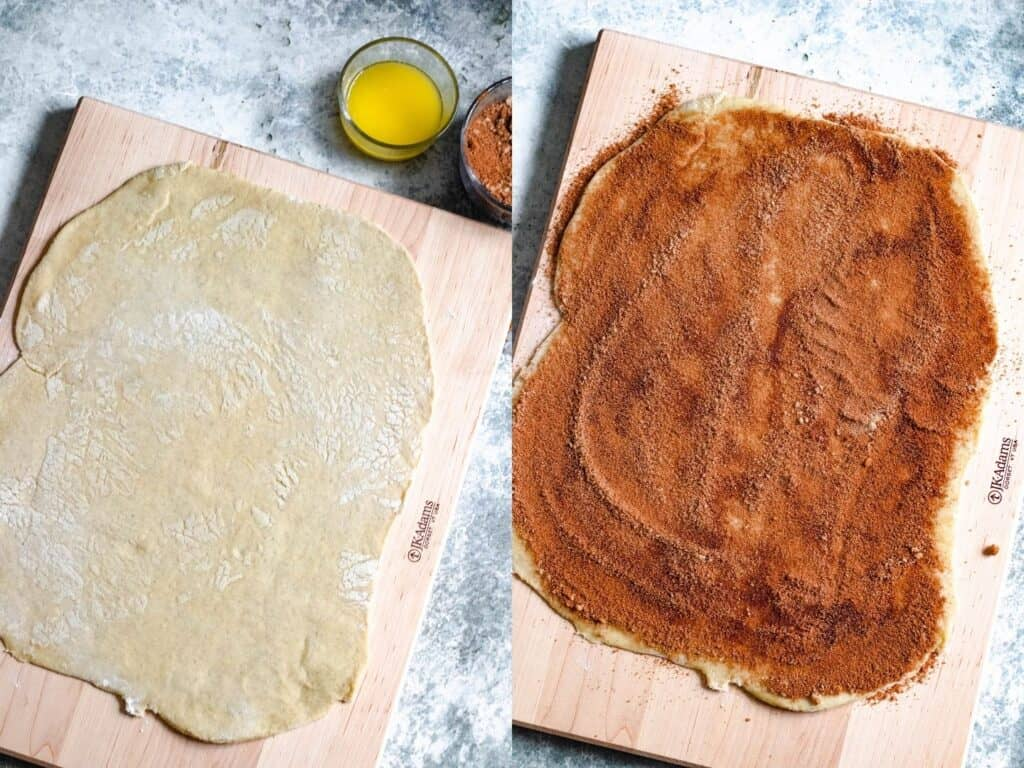 collage of dough rolled out and then with butter and cinnamon sugar added