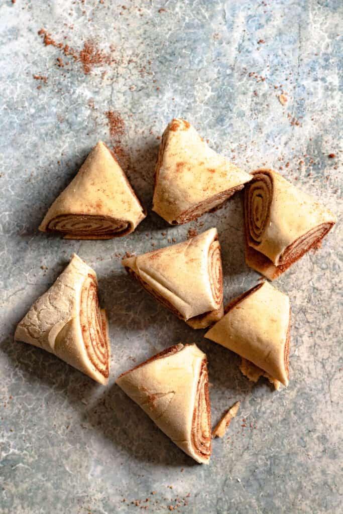 7 triangles of dough cut