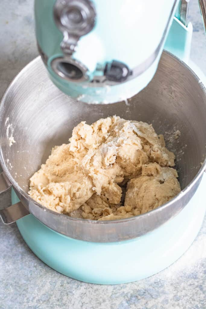dough in a kitchen aid mixer