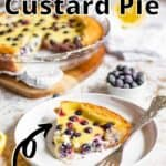 Blueberry Custard Pie Pinterest Image top outlined title