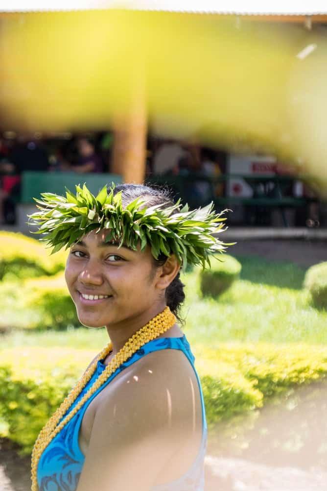 Fijian woman with a green head crown