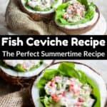 Summertime Fish Ceviche Recipe Pinterest Image middle black banner