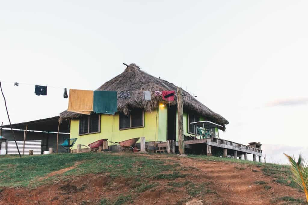 House on a hill with straw roof
