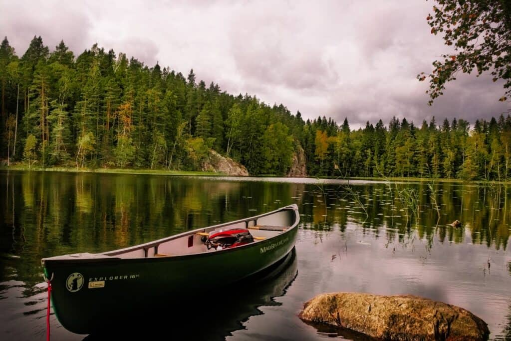 canoe on a finnish lake
