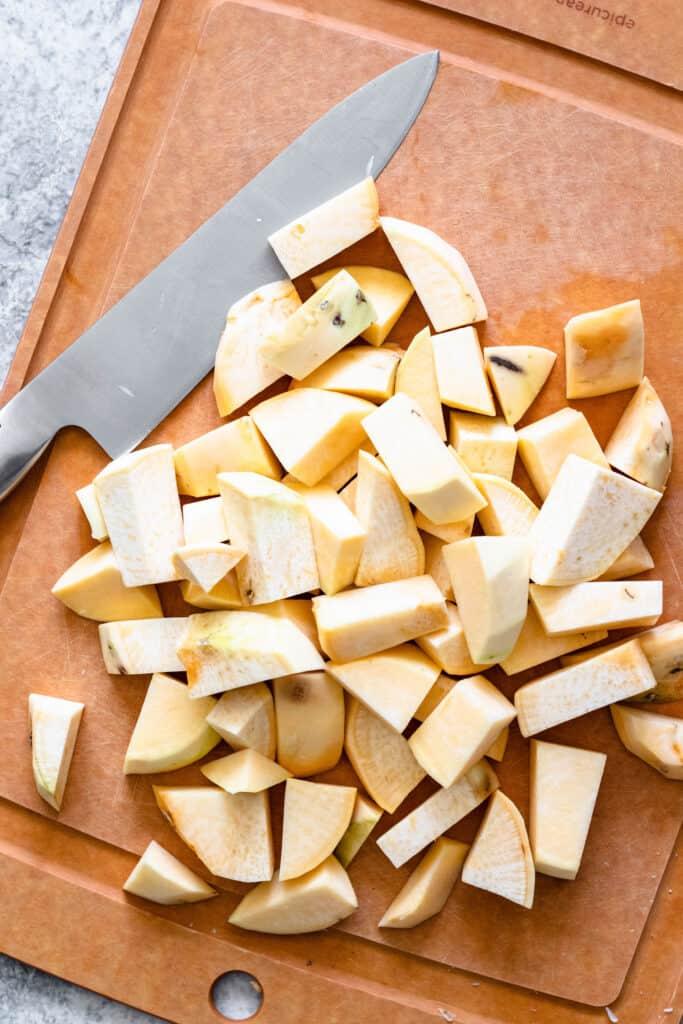 Chopped, raw rutabagas
