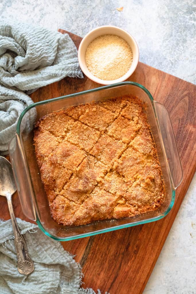 Baked Rutabaga Casserole on a wooden cutting board