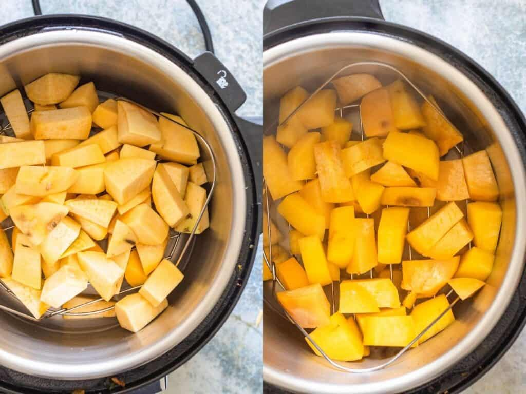 Collage of cooking rutabagas in the Instant Pot