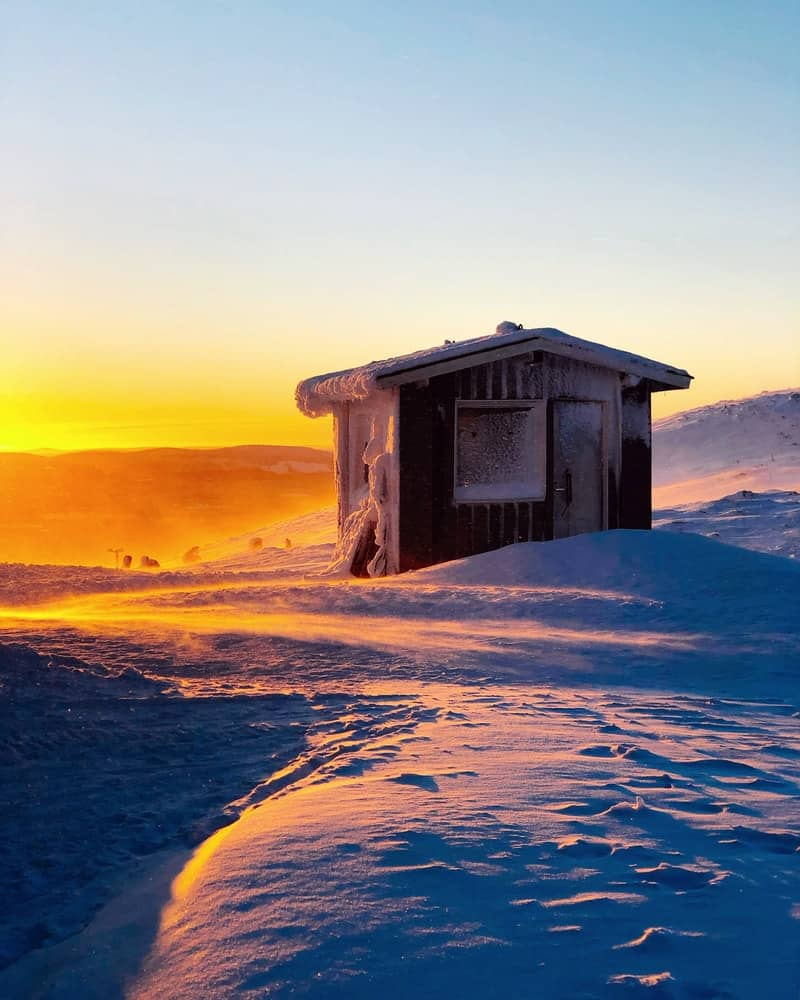 sauna on a wintery finnish mornig