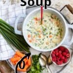 Vegetable Soup Pinterest Image top outlined title