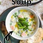 Summertime Vegetable Soup Pinterest Image top outlined title