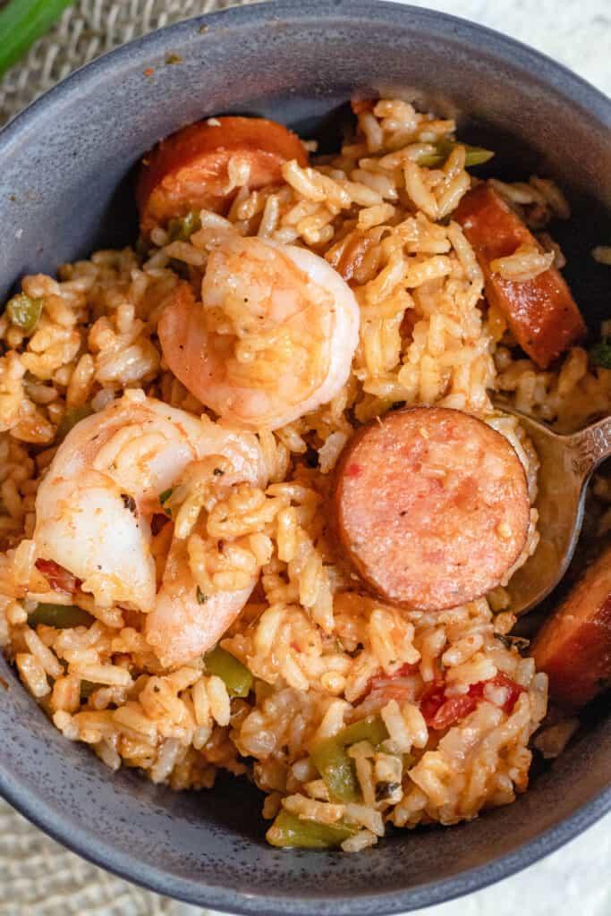 Close up of Jambalaya with shrimp and sausage