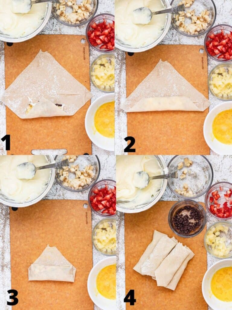 collage of how to wrap egg rolls