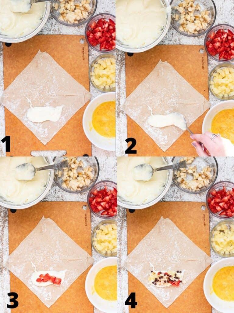 Collage of how to fill banana split egg rolls