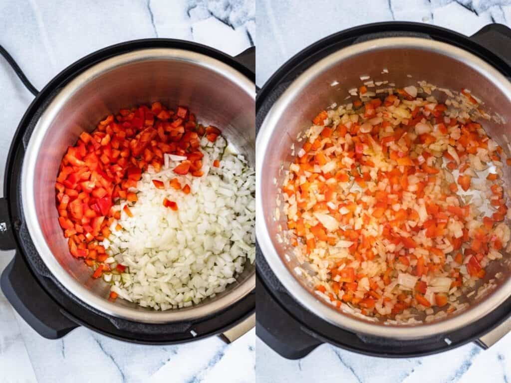 Sauteeing peppers and onions in the Instant Pot