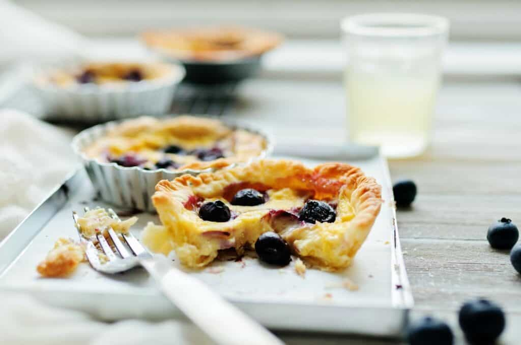 a blueberry custard tart