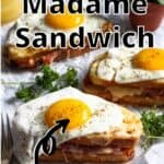 Croque Madame Sandwich Pinterest Image top outlined title