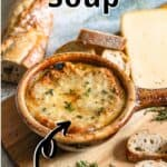 French Onion Soup Pinterest Image top outlined title