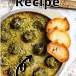 Escargot Recipe Pinterest Image top outlined title