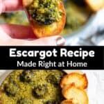 Escargot Recipe Pinterest Image middle black banner