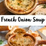 Easy French Onion Soup Recipe Pinterest Image middle white banner