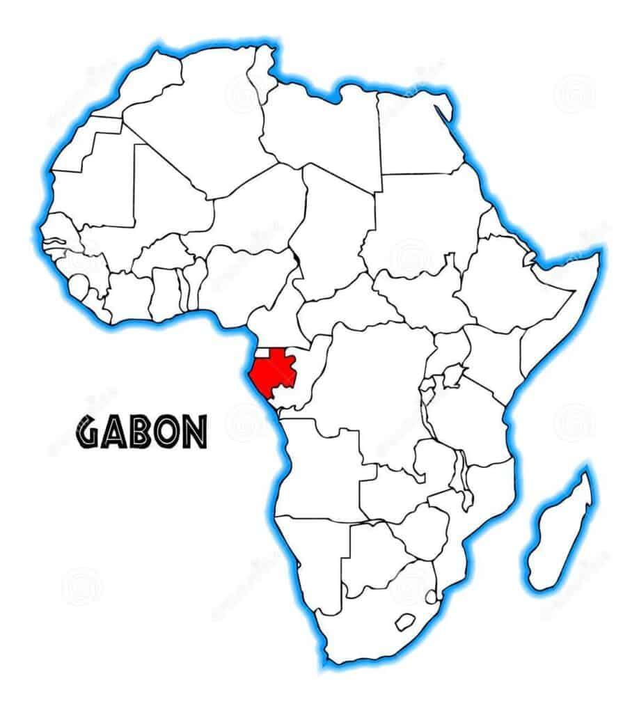 Gabon on a map