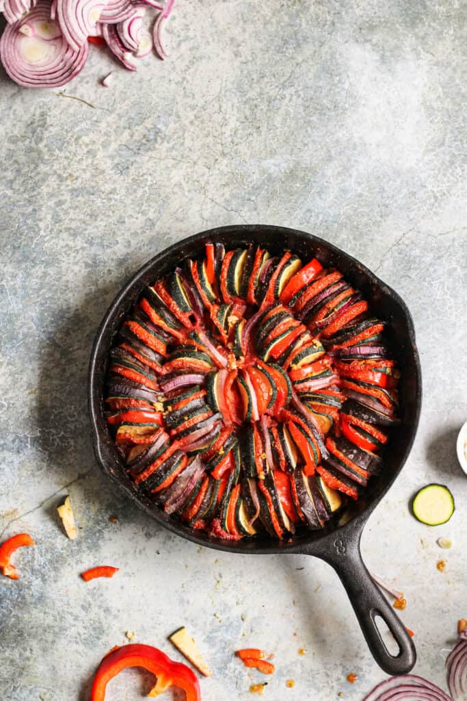 Baked ratatouille in a cast iron skillet
