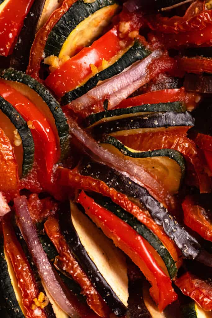 close up of cooked vegetable slices
