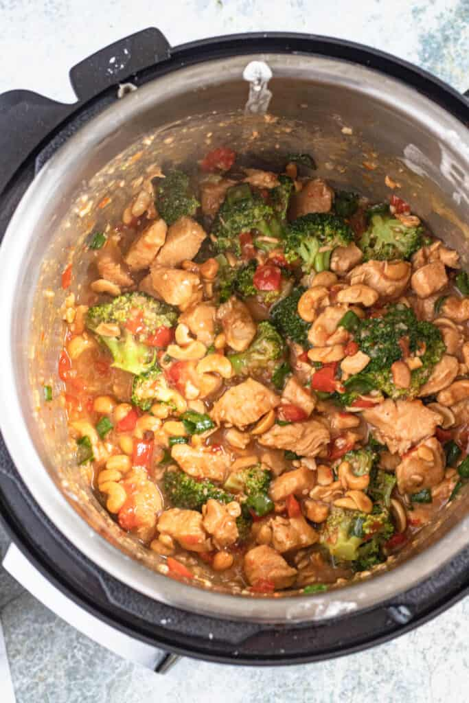 Cooked cashew chicken in the instant pot