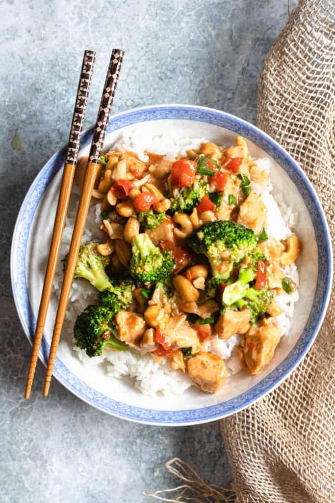 Bowl of Cashew Chicken with Chopsticks