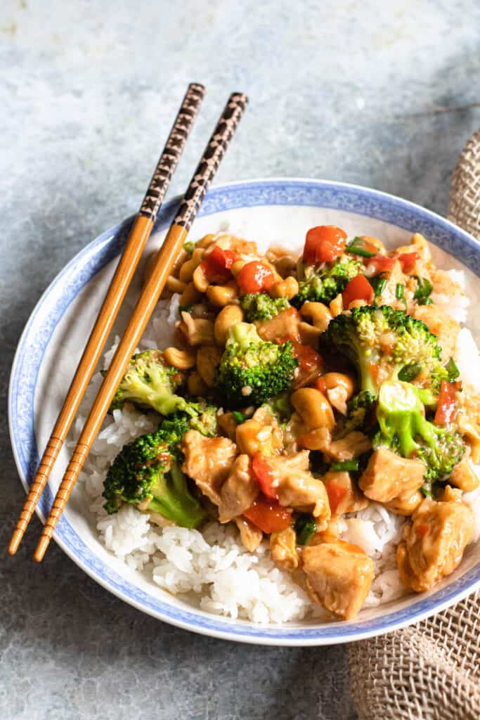 cashew chicken on a bed of rice
