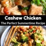 Summertime Cashew Chicken Pinterest Image middle black banner