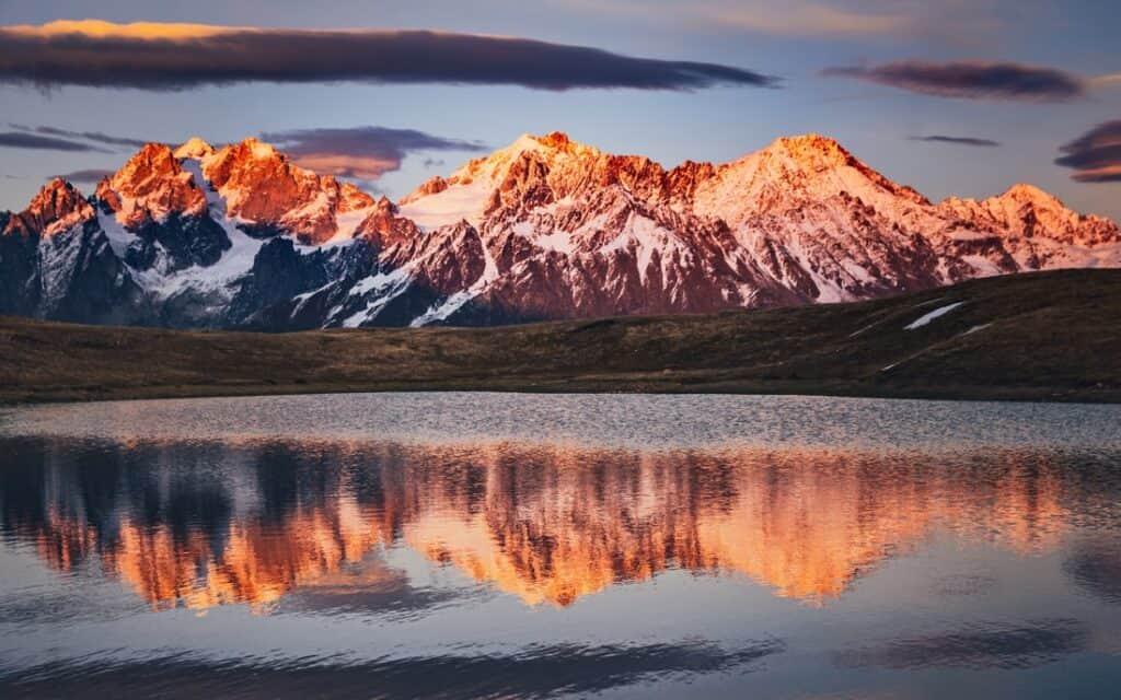 Orange Caucasus Mountains