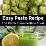 Summertime Easy Pesto Recipe Pinterest Image middle black banner