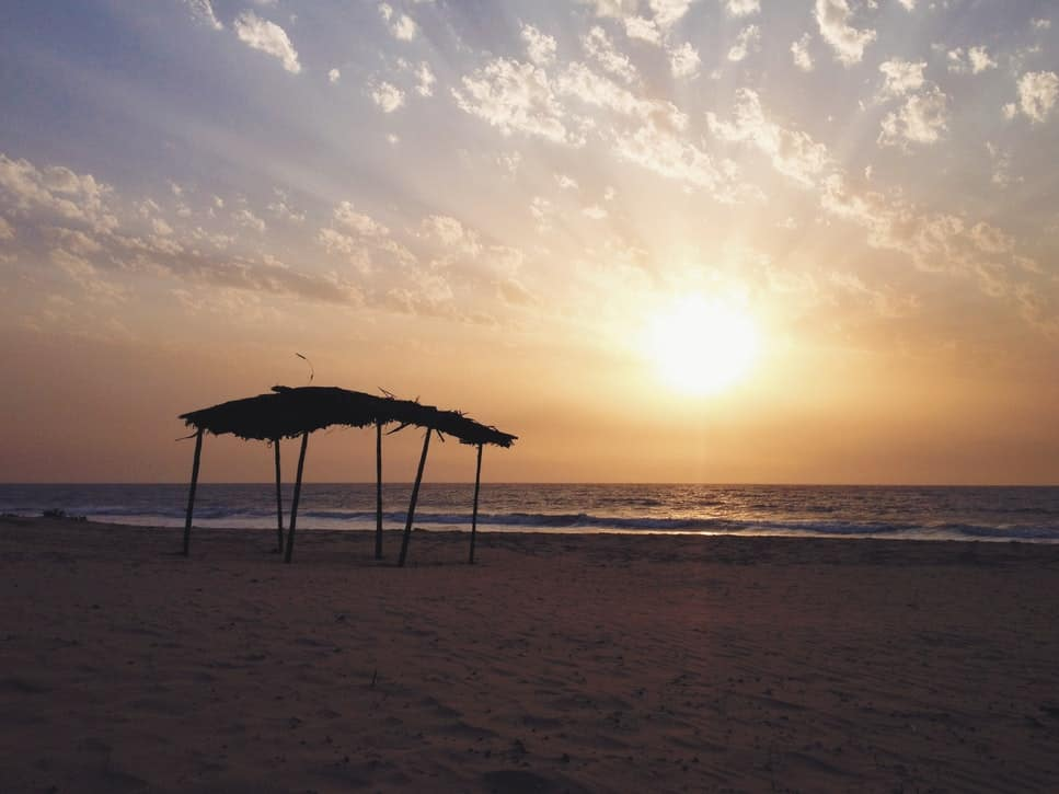 A sunset beach in The Gambia