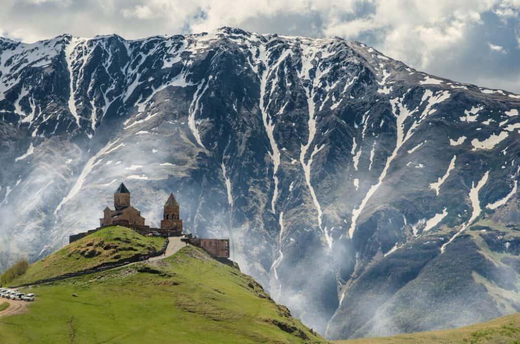 Caucasus mountains behind a church
